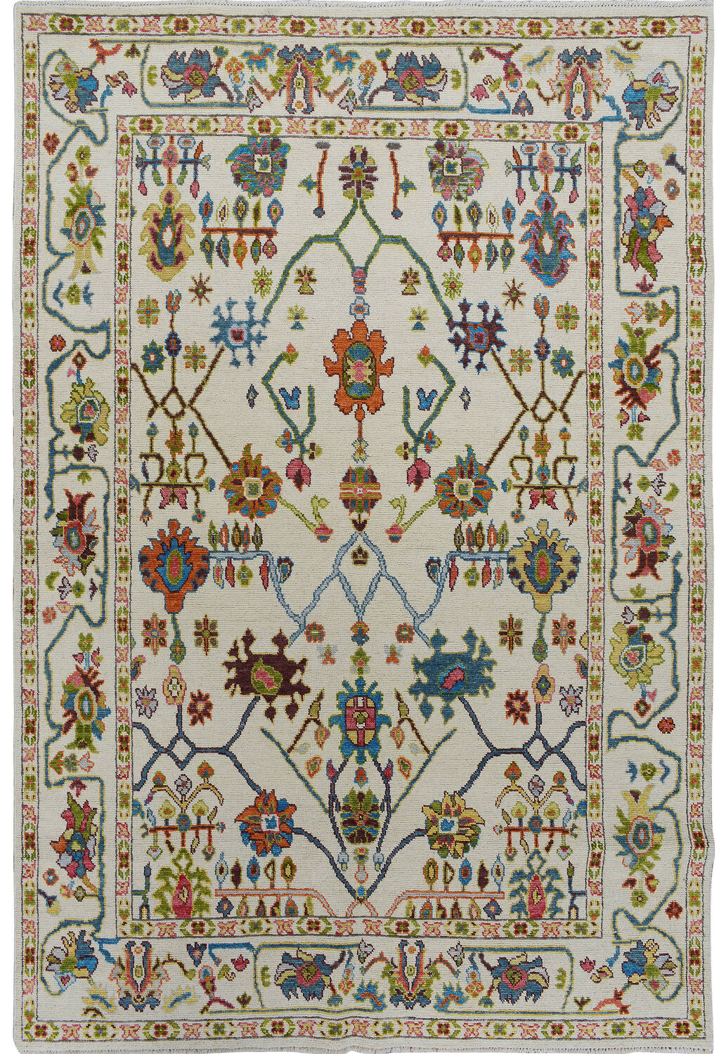 All-Oer Vegetable Dye Oushak Turkish Area Rug 6x9 image 1