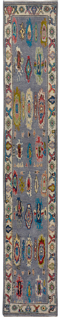 Vegetable Dye Super Oushak Turkish Runner Rug 3x13