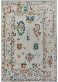 Floral Vegetable Dye Oushak Turkish Oriental Area Rug 6x8
