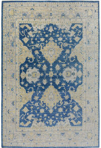 Floral Oushak Turkish Vegetable Dye Area Rug 8x11