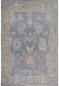 Floral Oushak Vegetable Dye Turkish Area Rug 9x12