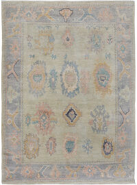 All-Over Floral Vegetable Dye Oushak Turkish Oriental Area Rug 8x10