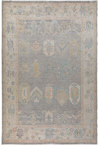 Gray Vegetable Dye Oushak Turkish Area Rug 9x12