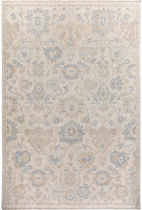 Floral All-Over Oushak Turkish Vegetable Dye Area Rug 10x14
