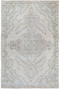 Muted Tabriz Persian Distressed Area Rug 3x4