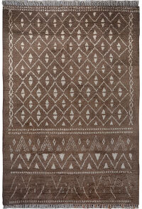 Brown Geometric Shaggy Moroccan Area Rug 8x11