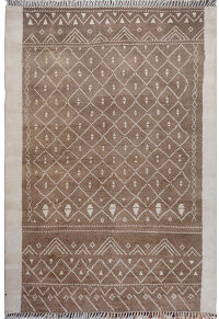 Brown Tribal Geometric Moroccan Area Rug 8x10