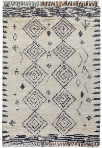Ivory South-Western Shaggy Moroccan Area Rug 4x6