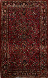 Antique All-Over Red Floral Sarouk Persian Area Rug 4x7