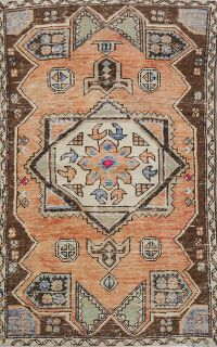 Vintage Geometric Anatolian Turkish Area Rug 3x6