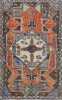 Vintage Geometric Anatolian Turkish Area Rug 4x5