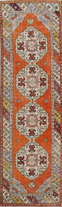 Geometric Anatolian Turkish Runner Rug 3x9