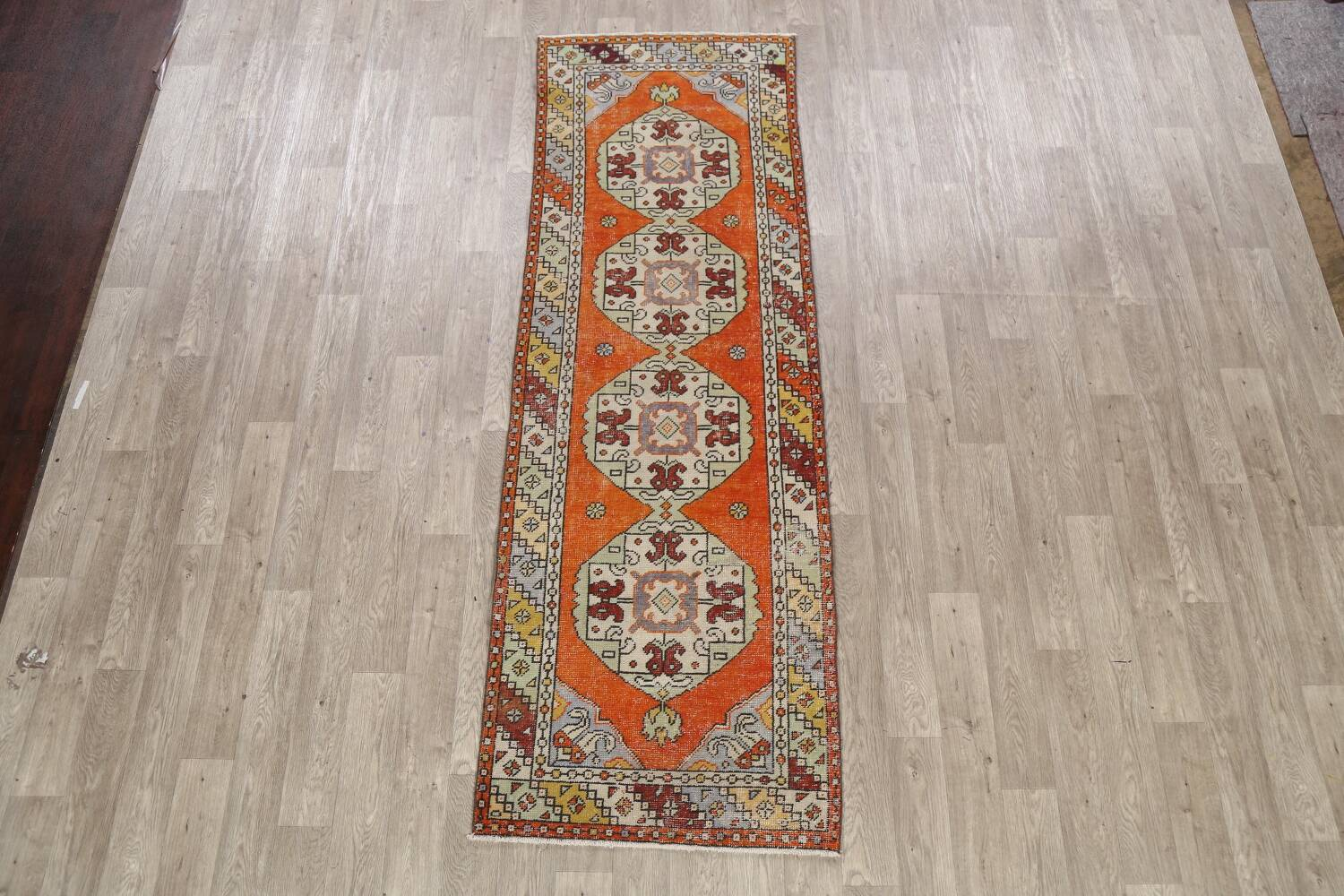 Geometric Anatolian Turkish Runner Rug 3x9 image 2