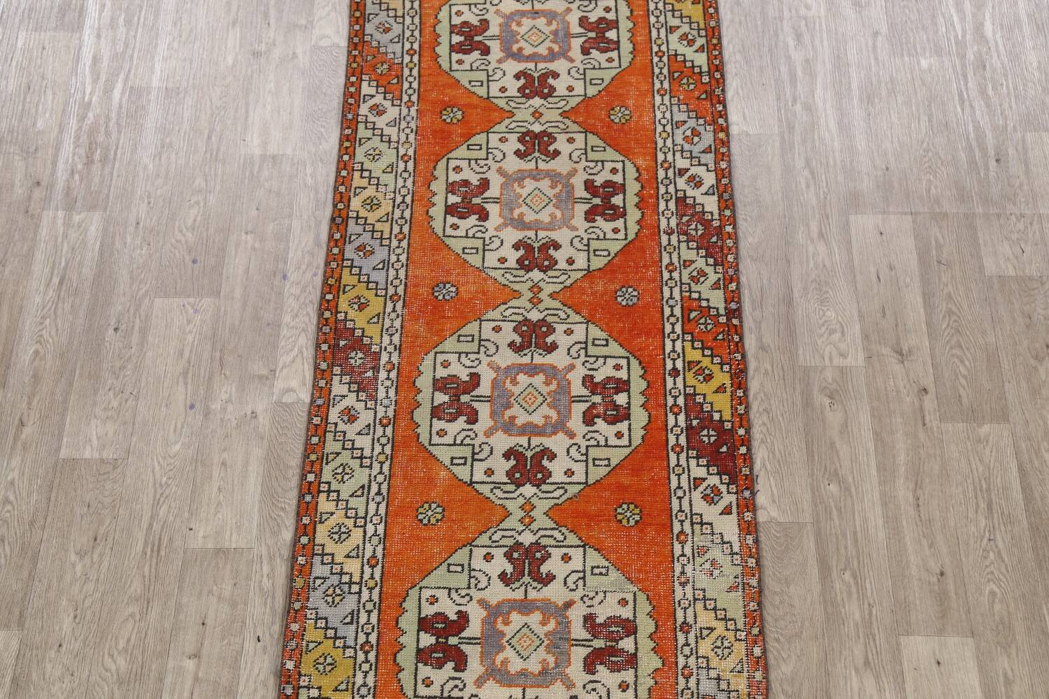 Geometric Anatolian Turkish Runner Rug 3x9 image 3