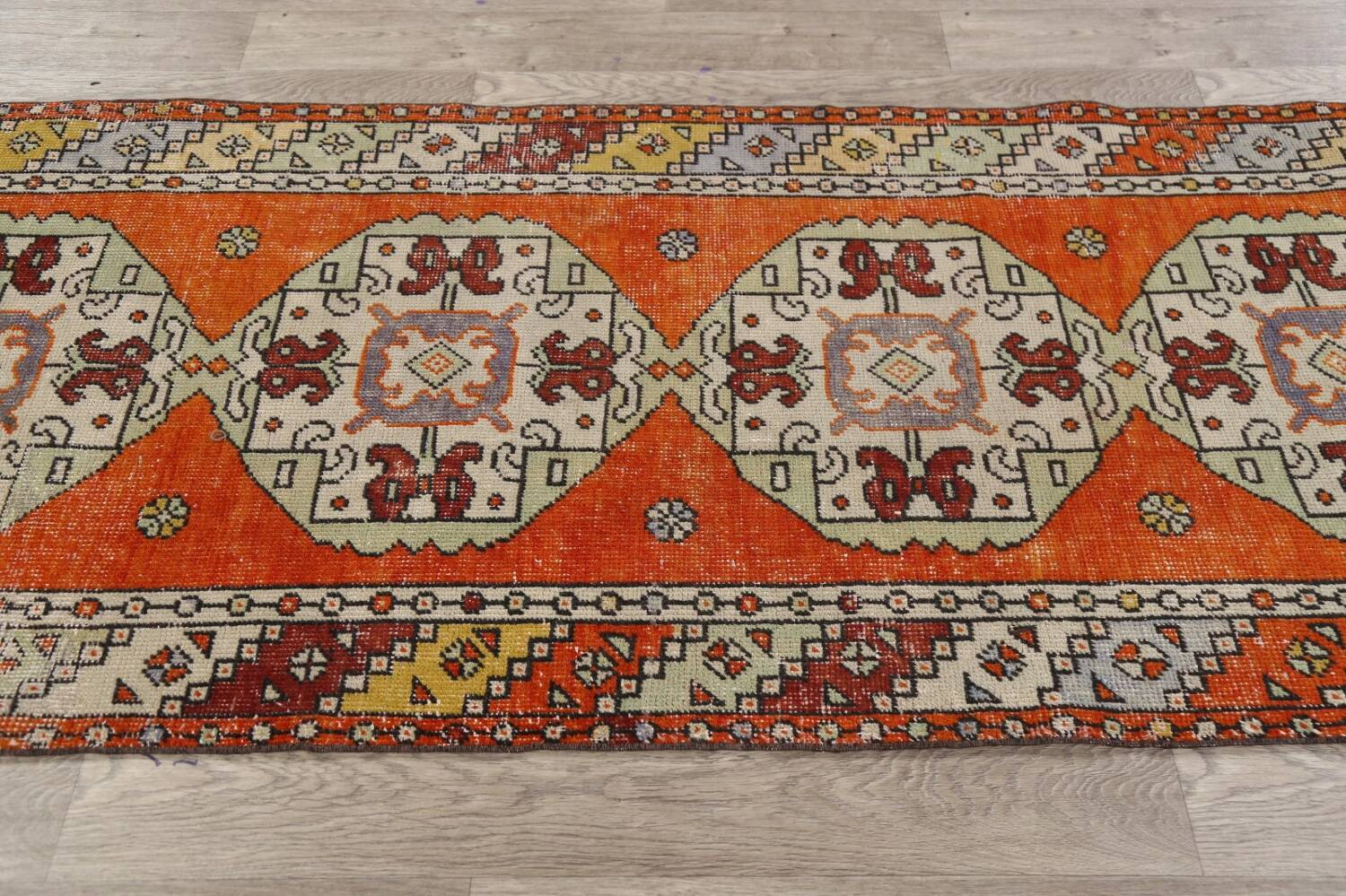 Geometric Anatolian Turkish Runner Rug 3x9 image 15