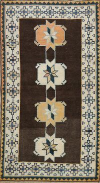 Brown Geometric Anatolian Turkish Area Rug 3x5