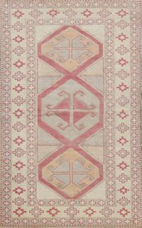 Vintage Geometric Anatolian Turkish Area Rug 4x6