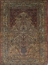 Pre-1900 Antique Floral Isfahan Ahmad Persian Area Rug 5x7