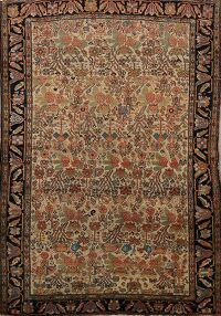 Pre-1900 Antique Vegetable Dye Sarouk Farahan Persian Rug 4x6