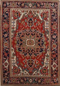 Pre-1900 Antique Vegetable Dye Heriz Serapi Persian Rug 5x7