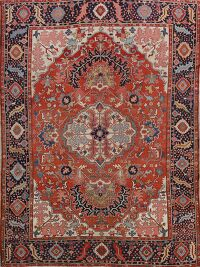 Pre-1900 Antique Heriz Serapi Vegetable Dye Persian Rug 11x13