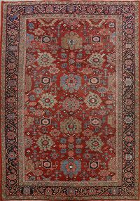 Pre-1900 Antique Heriz Serapi Vegetable Dye Persian Rug 8x12