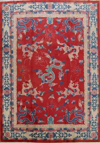 Red Dragons Art Deco Chinese Area Rug 9x12