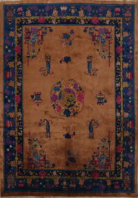 Vintage Floral Pictorial Art Deco Chinese Area Rug 8x10
