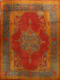Pre-1900 Antique Oushak Vegetable Dye Turkish Rug 12x12