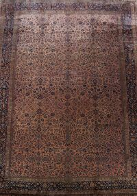Pre-1900 Antique Kashan Vegetable Dye Persian Rug 15x23