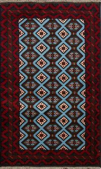 Light Blue Geometric Bokhara Oriental Area Rug 3x5