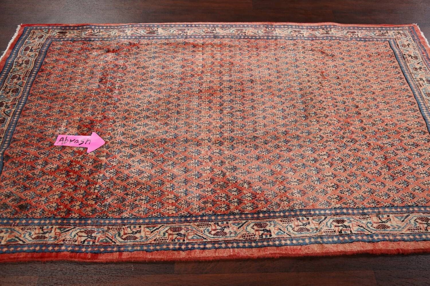 Vintage All-Over Boteh Botemir Persian Area Rug 4x7 image 12