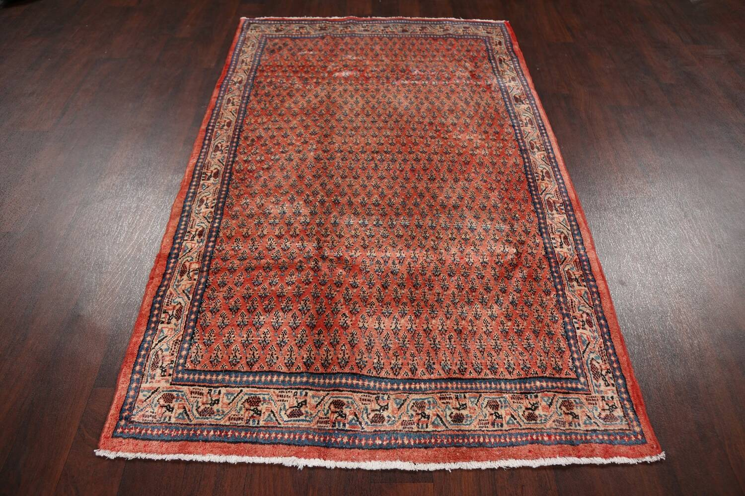 Vintage All-Over Boteh Botemir Persian Area Rug 4x7 image 18