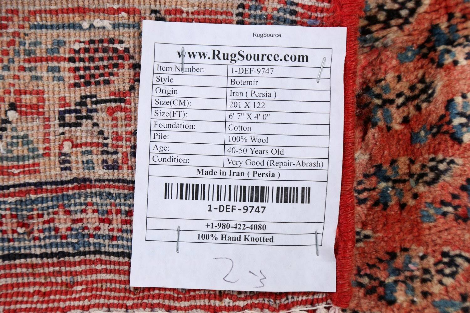 Vintage All-Over Boteh Botemir Persian Area Rug 4x7 image 25