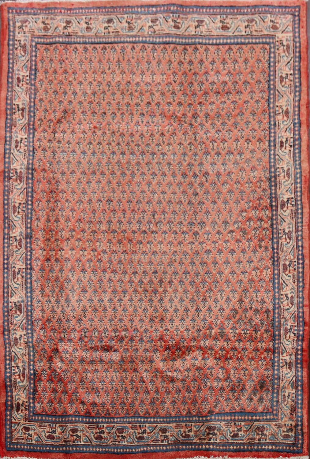 Vintage All-Over Boteh Botemir Persian Area Rug 4x7 image 1