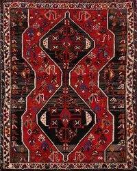 Vintage Geometric Red Shiraz Persian Area Rug 4x5