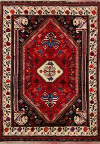 Vintage Tribal Red Shiraz Persian Area Rug 4x5
