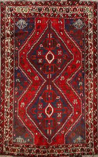 Tribal Geometric Shiraz Persian Area Rug 4x5