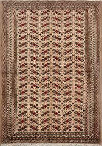 Light Brown Geometric Bokhara Oriental Area Rug 3x5