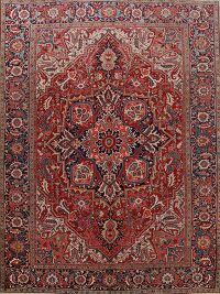 Antique Vegetable Dye Heriz Serapi Persian Area Rug 9x13