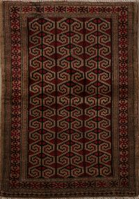 Brown Geometric Balouch Persian Area Rug 3x4