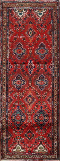 Vintage Geometric Red Malayer Persian Runner Rug 3x9