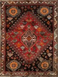 Vintage Tribal Geometric Abadeh Persian Area Rug 4x5