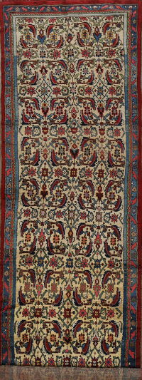 Antique 100% Vegetable Dye Bidjar Persian Runner Rug 3x13