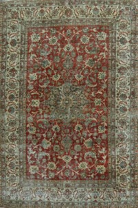 Pre-1900 Antique Vegetable Dye Tabriz Persian Area Rug 7x11