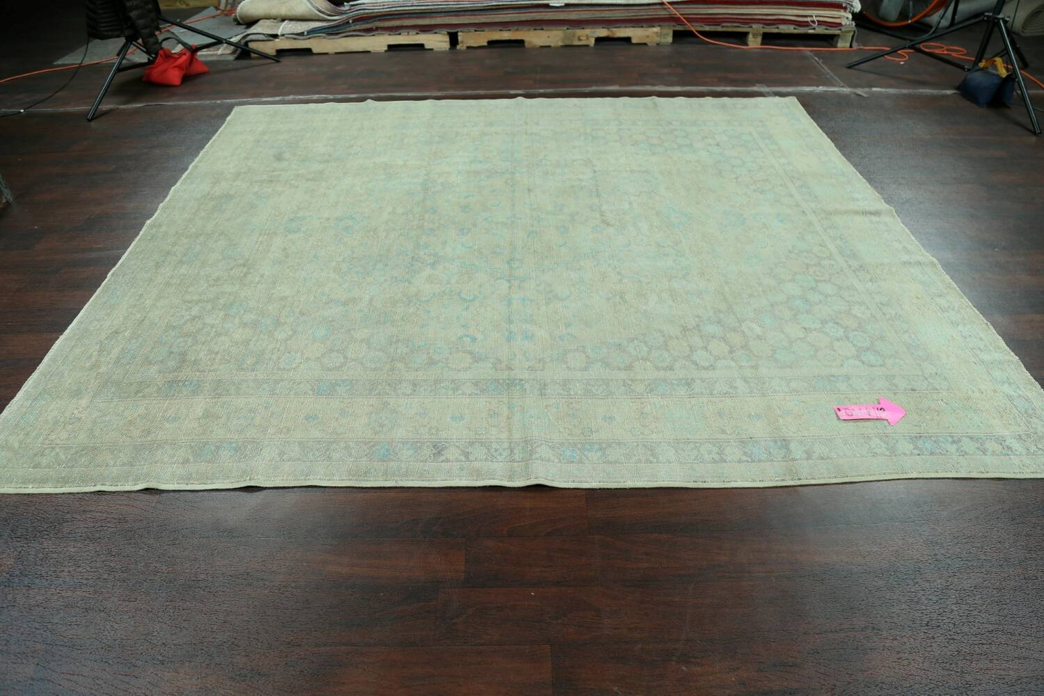 Antique 100% Vegetable Dye Sultanabad Persian Area Rug 8x9 image 13