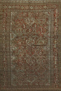 Pre-1900 Antique Geometric Qashqai Persian Area Rug 6x9