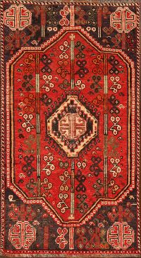 Vintage Geometric Red Shiraz Persian Area Rug 3x6