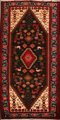 Animal Pictorial Black Balouch Oriental Runner Rug 3x7