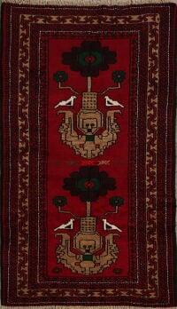 Animal Pictorial Red Balouch Oriental Area Rug 3x5